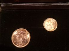 San Marino – 1 and 2 Scudi, 1983, in original case – gold