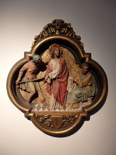 Large 1st embossed Stations of the Cross - Bruges - late 19th century