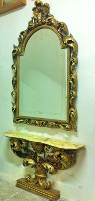 Baroque console with mirror and top in precious Onyx and solid wood, Italy, 20th c.