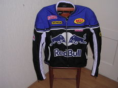 Redbull motorcycle jacket - blue black - leather with thick nylon - Exquisite leather - Fs world Fashion