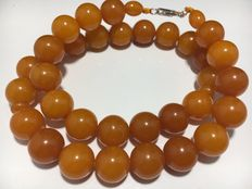 Vintage Baltic Amber Necklace on silk cord, milky butterscotch color, Jantar