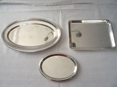 Three silver plated serving trays, Sola, ca. 1950