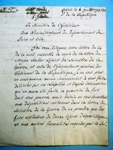Very rare autograph letter from Garat, Minister of justice and later of Interior with Bonaparte, Earl of the Empire