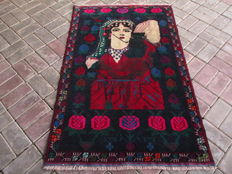 2824 HAND KNOTTED HERATHI PICTORIAL RUG RUG 90 X 148 CM