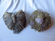 Two theatre bonnets from Vienna in their original box, mid 19th century