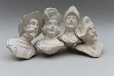 4 large French clay pipes-Gisclon Dutel-ca. 1880