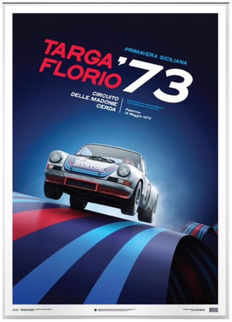 Porsche collection - fine art print - Porsche 911 RSR Martini - Targa Florio 1973 - 70CM X 50CM number 591 of 911.