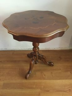A walnut side table with inlaid table top, mid 20th century