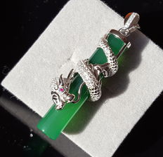 925 sterling silver,Chrysoprase dragon pendant with necklace ,Weight : approx 13 g (2)