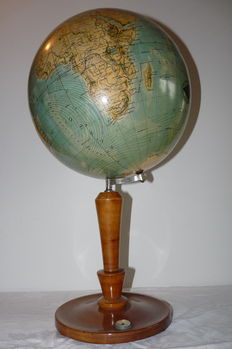 Stately antique table/desk globe on high wooden foot with compass