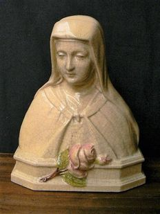 H. Hanssens, Paris - Ceramic statue H. Theresia, signed - Early 1900