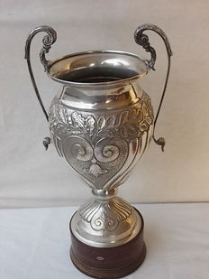 Large silver plated cup with wooden base and cast handles, Italy, 1950s-1960s