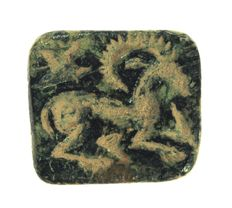 Stamp seal/ gable seal Ibex and bird - 17.8mm x 16.1mm x 7.4mm