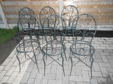 A set of 6 wrought iron garden chairs - France or Belgium - 20th century