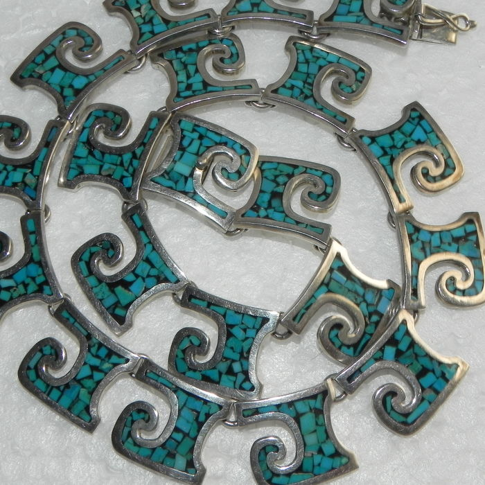 Navajo style necklace turquoise 925 silver 94.16g