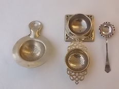 Antique collection of three strainers in English Silver, two marked EPNS, circa 1890