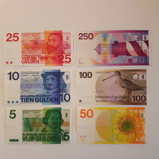 Netherlands 5, 10, 25, 50, 100 and 250 guilders