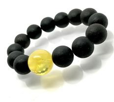 Bracelet of Baltic amber black & honey beads Ø13.5 mm - 20.7 grams