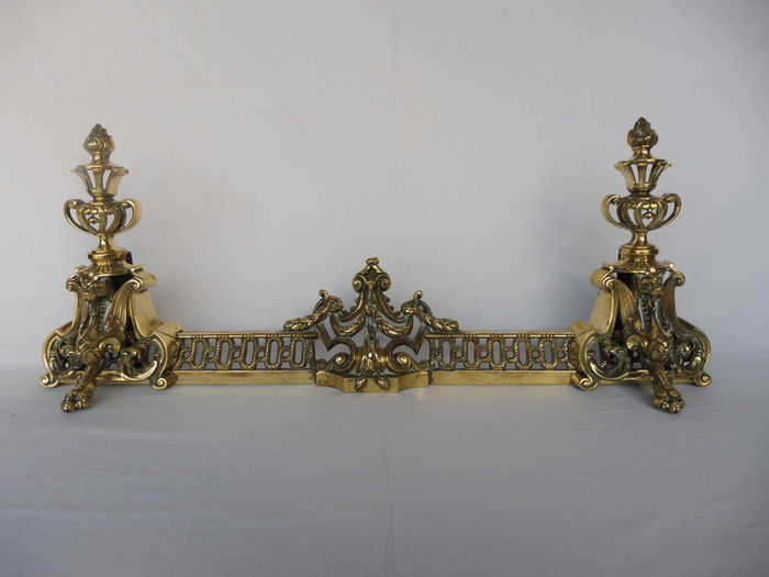 The front of a fireplace in bronze and brass - France - late 19th century