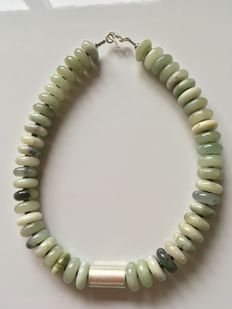 Jade necklace with handmade silver 925 - clasp silver 925.
