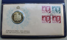 Medal FDC - Royal Wedding in 1976 in Sweden - silver medal and special stamps