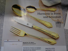 Dinnerware - fully gold-plated cutlery! SBS Solingen cutlery case, 70 piece set - Vienna Model - 23/24 carat plated, like new