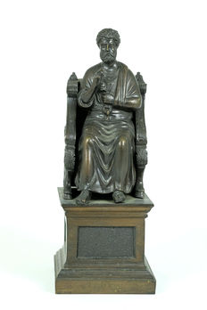 Bronze sculpture of a saint on a throne with a key - late 19th century