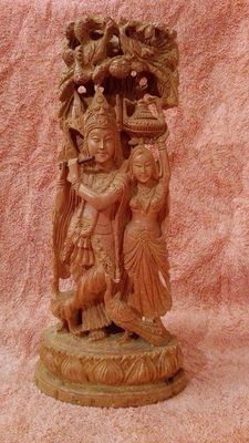 Large beautiful wooden Krishna et Radha sculpture – India – Second half of the 20th century