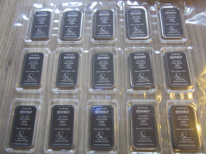 "Cook Islands:  12 x 1 Oz silver bars ""The Bounty sail ship2015"""