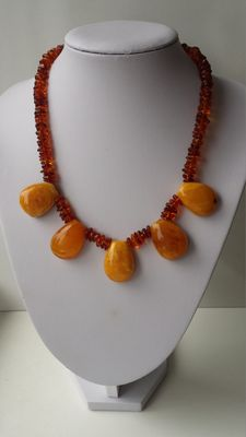 Vintage Amber necklace, 100% real Baltic amber beads, Butterscotch, egg yolk