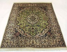 Beautiful Persian carpet, hand-knotted, rare GREEN Nain with silk, made in Iran at the end of the 20th century, 198 x 247 cm