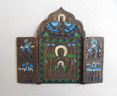 Antique bronze icon - triptych - Russia - 19th century.