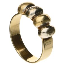 Bicolour gold ring in 14 kt - 17.25 mm