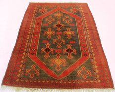 Old Persian carpet, Belutsch 1950, made in Iran, 102 x 210 cm, very good condition