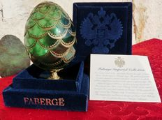 "Authentic Fabergé Imperial egg - Collection ""Pure Crystal, embossed"" - 16 sterling silver - 24k gold finish - signed - with authenticity certificate"