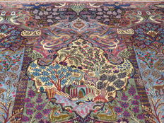 Wonderfully beautiful Persian carpet Kashmar/Iran 389 x 307 cm. End of 20th century. Paradise and nature motifs, IN MINT CONDITION and UNIQUE