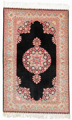 Silk carpet, Hereke Turkey, 100% pure silk oriental carpet, carpet with signature, 1.80 x 1.17 m