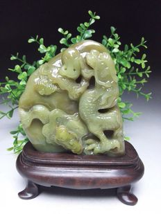 Shoushan Stone with Dragon carving, on wooden stand  - China - 21st century
