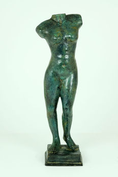 Large patinated bronze sculpture of female nude
