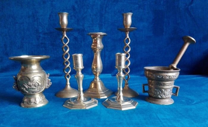 Set of candle holders, vase and a mortar - 1st half 20th century