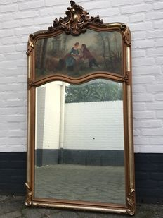 Louis XV style mirror with painting on panel - France - ca. 1880