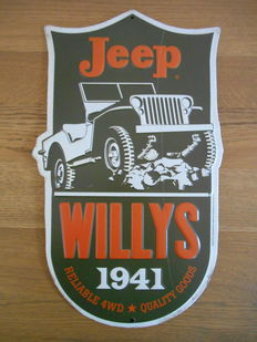 Jeep Willys metal advertising sign from 1991 - 36 x 21.5 cm