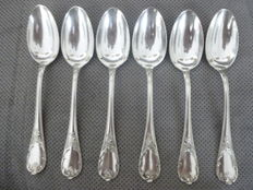 Lot of 6 dessert spoons, Marly model, Christofle Paris France, 20th century