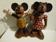 Two large solid wooden statues of mice (about 51 cm)