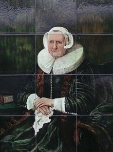 "Plateelfabriek De Distel -  ""Elisabeth Bas"" tile panel"