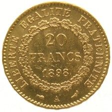 France – 20 francs 1898A, Standing Genius – gold