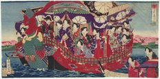 """Large original triptych woodcarving by Toyohara Chikanobu (1838 – 1912), entitled """"Meji Emperor and Empress on a Phoenix Boat"""" – Japan – around 1889"""