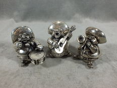 Collection of three silver-plated figures of Mariachis - Metal and 999 silver