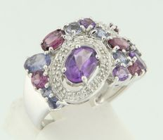 18k white gold ring set with various colours amethysts and octagon cut diamond
