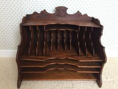 An oak wood letter holder England, 20th century